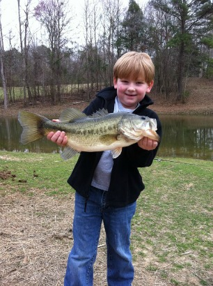 Florida bass fishing with young boy