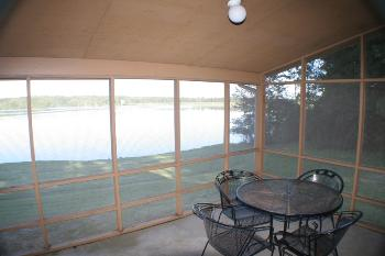 cabin tental back porch at bass fishing lake