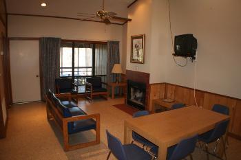 cabin rental living room at bass fishing lake